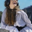 Face of girl with head-phones - Stockfoto