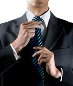To tie one's tie — Stock Photo