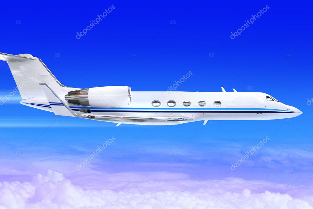 Private white jet plane in the blue sky — Stock Photo #2606763
