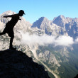 Mountaineers silhouette — Stock Photo