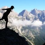 Mountaineers silhouette — Stock Photo