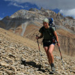 Stock Photo: Mountain trekking