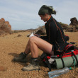 Backpacking in the desert - Stok fotoğraf