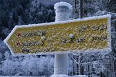 Frozen tourist sign — Stock Photo
