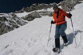 Snowshoe descent — Stock Photo
