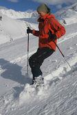 Winter fun - snowshoe descent — Stock Photo