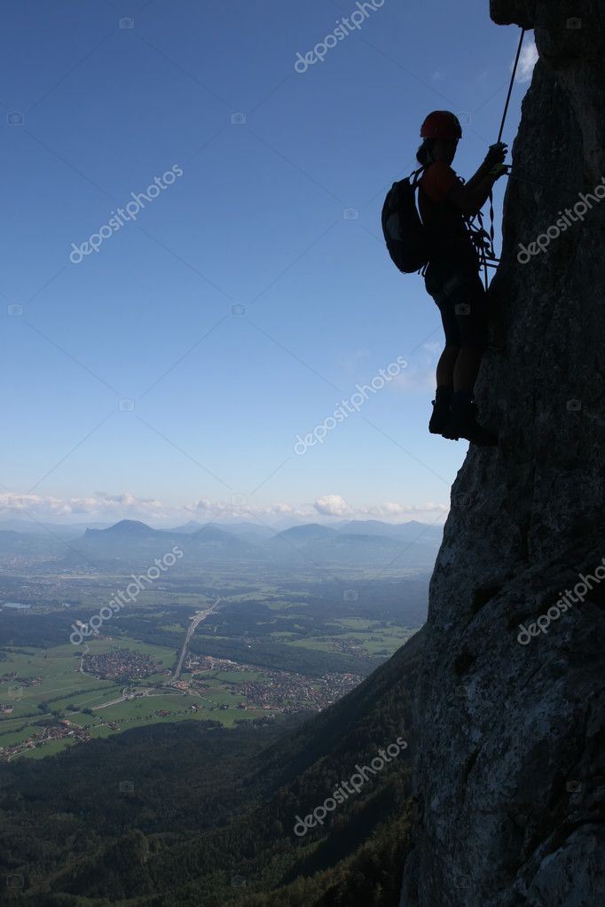 Extreme sport - silhouette of a climber — Stock Photo #2305678