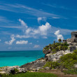 Tulum ruins by the ocean - Stock Photo