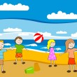 Children on the beach — Stock Vector