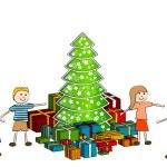 crianças com árvore de Natal — Vetorial Stock