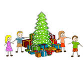 Children with christmas tree — Stock Vector