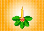 Candle with ilex — Stock Vector