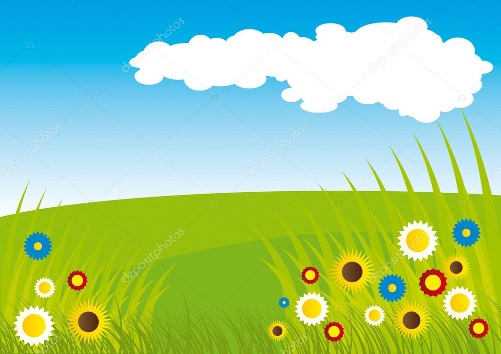 Summer field with grass and flowers and blooms under the blue sky with white cloud. — Stock Vector #2502544