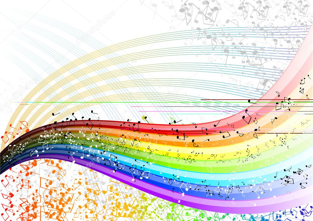 Musician rainbow with many notes. — Stock Vector #2502701