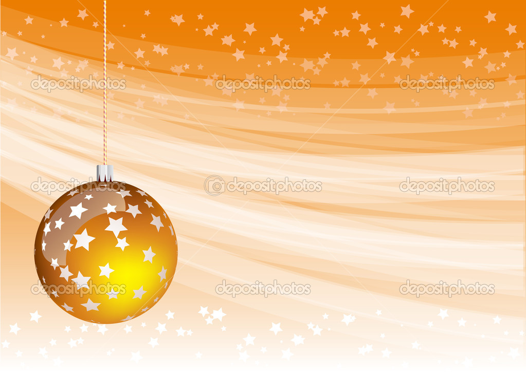 Orange christmas background with ball  Stock Vector #2502738