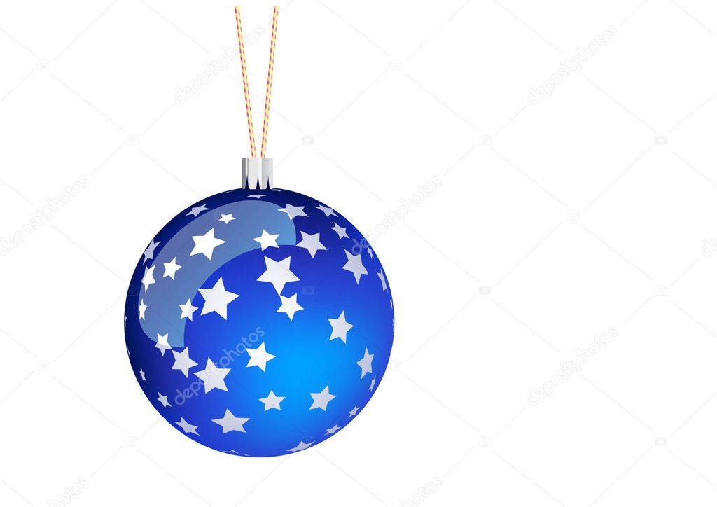 Blue christmas ball with stars. — Stock Vector #2502832