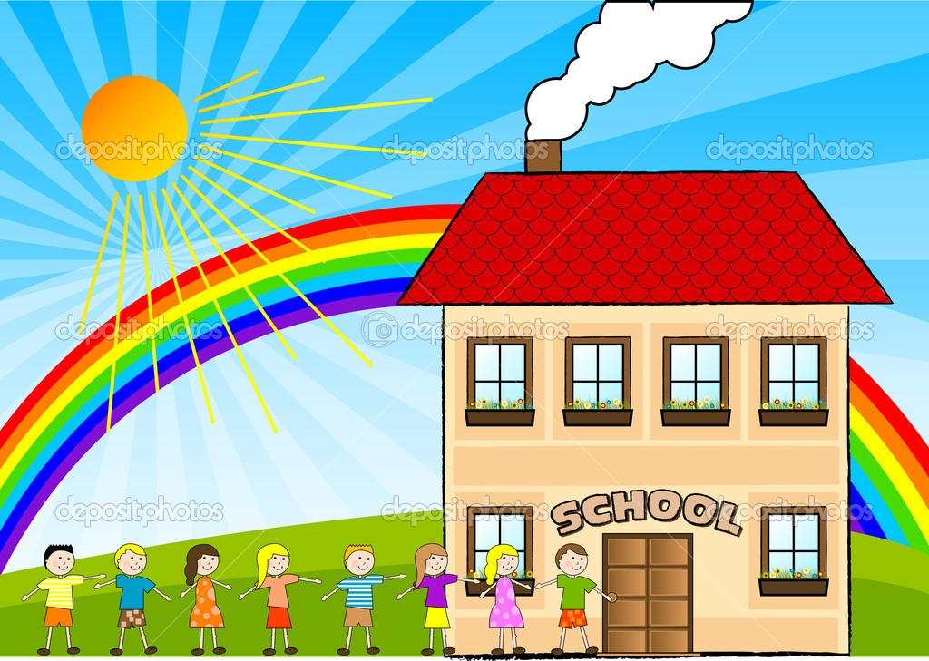 Children are going to the school.  Stock Vector #2502839