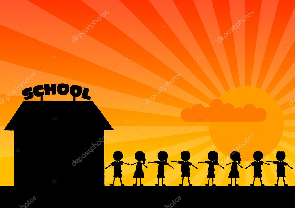 Black silhouette of school with children. — Stock Vector #2502847