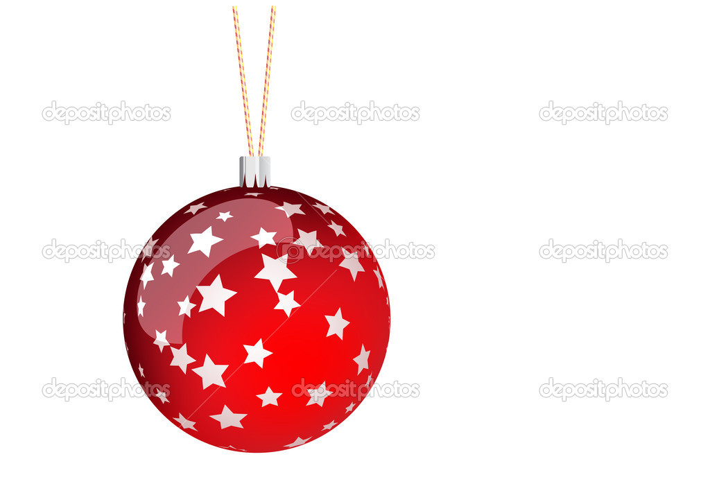 Red christmas ball with stars. — Stock Vector #2502856