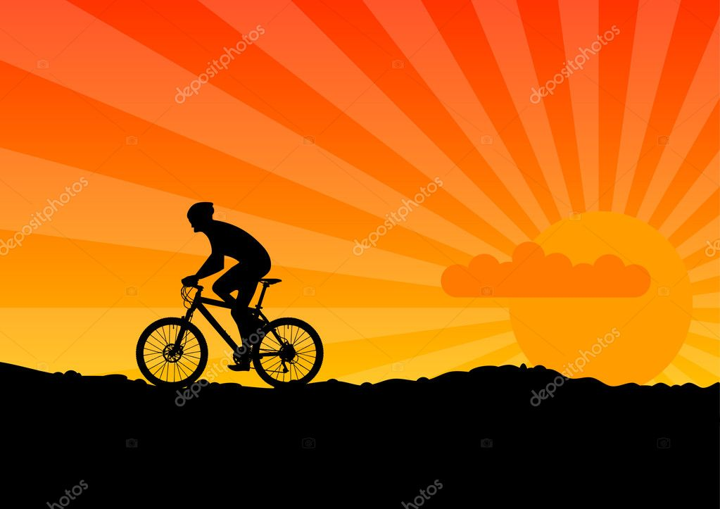 Black silhouette of bicicle on the orange sky. — Stock Vector #2503032