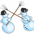 Snowmans battle — Stock Vector