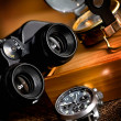 Chronograph, compas and map — Stockfoto