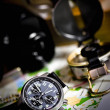 Stock Photo: Chronograph, compas and map