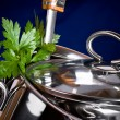 A stainless pan — Stock Photo