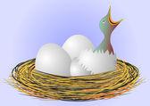 Little bird in the nest — Stock Vector