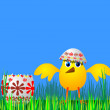 Vector de stock : Easter egg and chicken