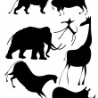 Various animals a la cave painting - Stock Vector