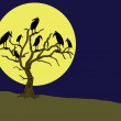 Ravens on the rampike at night - Stock Vector