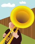 Trumpeter - vector — Stock Vector