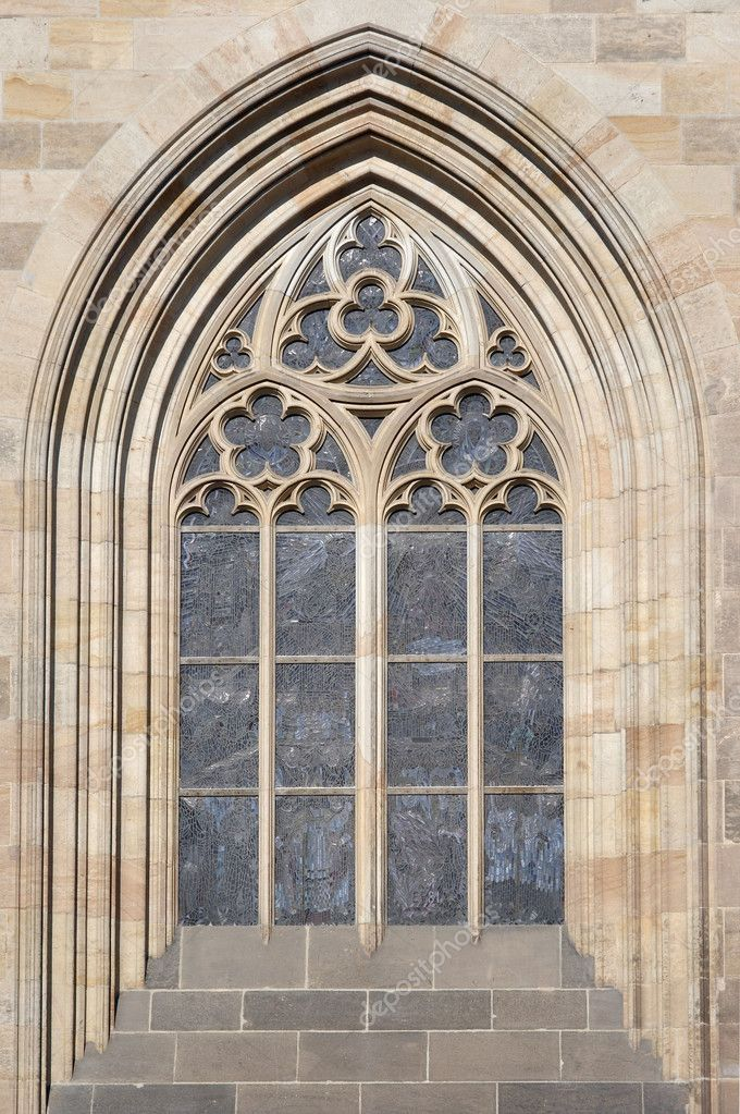 Architectural detail - Gothic arch on the Prague castle in Prague.  Stock Photo #2429076