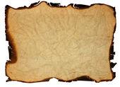 旧的 grunge 纸与被烧的边缘 — 图库照片