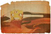 Fiddle bridge in grunge style — Stock Photo