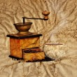 Stock Photo: Coffee mill and beans in grunge style