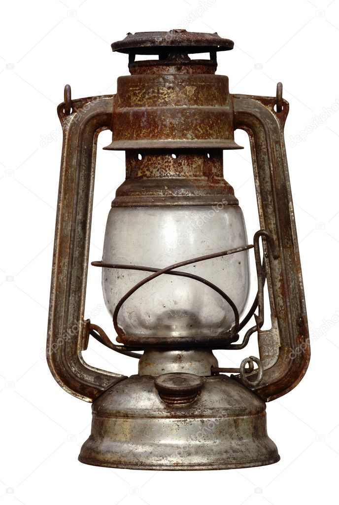 Shot of the antique time-worn kerosene lamp - over white background - isolated — Stock Photo #2579185