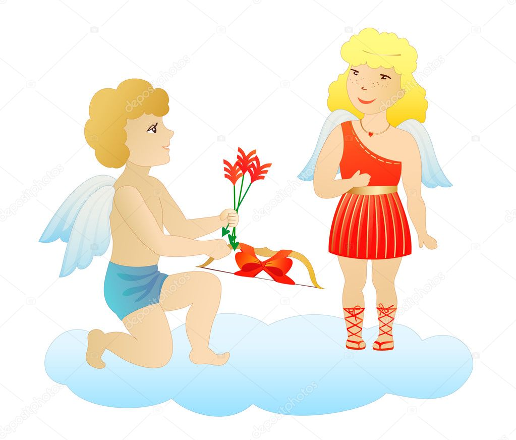 Enamored cupid-boy give presents to cupid-girl on saint valentines day — Stock Vector #2194191