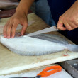 Filleting fish — Stock Photo