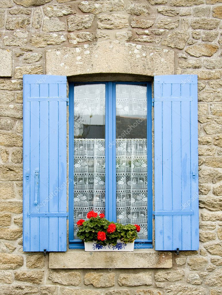 French window with blue shutters stock photo rixipix for Artisan france fenetre