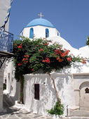 Greek blue and white church — Stock Photo