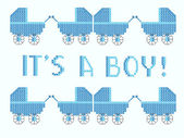 I's a boy cross stitch — Stock Vector