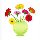 Vector flower gerber in vase — Stock Vector