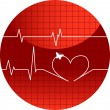 Vector illustration of cardiogram of lov — Stock Vector