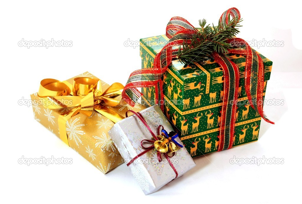 View of Christmas gift on white — Stock Photo #2195192