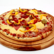 Stock Photo: Cheese pizzwith ham