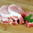 Stock Photo: Slices of fresh pork meat