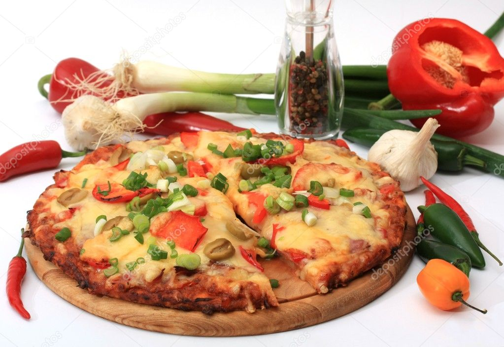 Chilli pizza on white background  Stock Photo #2345654