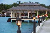 Al atardecer las maldivas — Foto de Stock